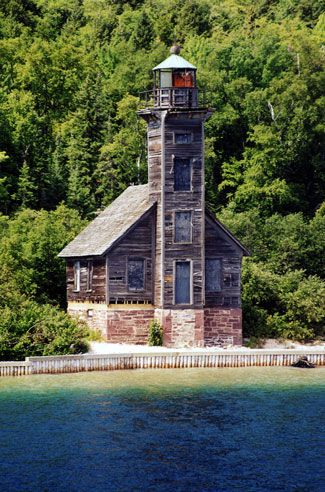 Grand Island East Channel Lighthouse. Munising, MI. Built in 1863, this lighthouse sits on the southeast shore of Grand Island on private property and was automated in 1913. The lighthouses function was replaced by the Munising Range Lights.