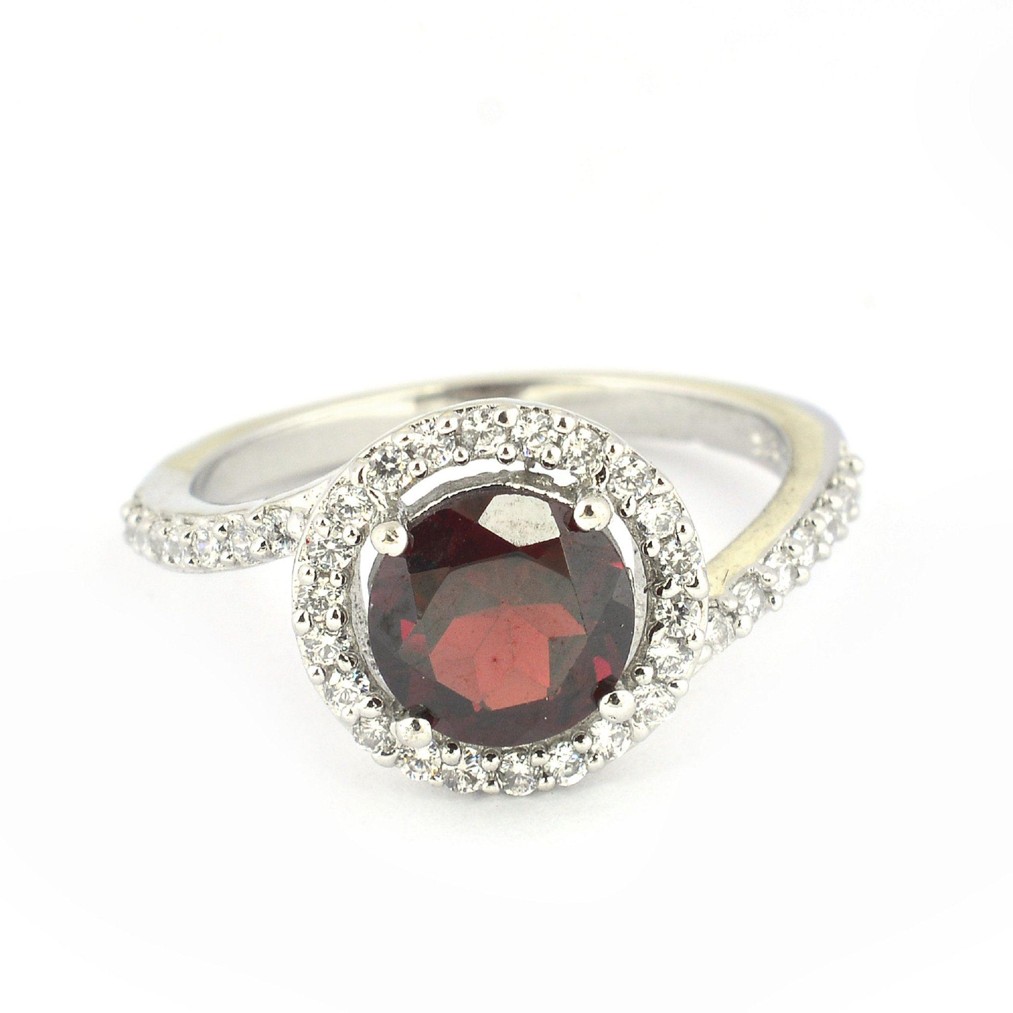 Natural Red Garnet Ring  Genuine Gemstone Ring  Dainty Garnet Jewelry  January Birthstone Ring  Anniversary Ring  Ring Gift for Her