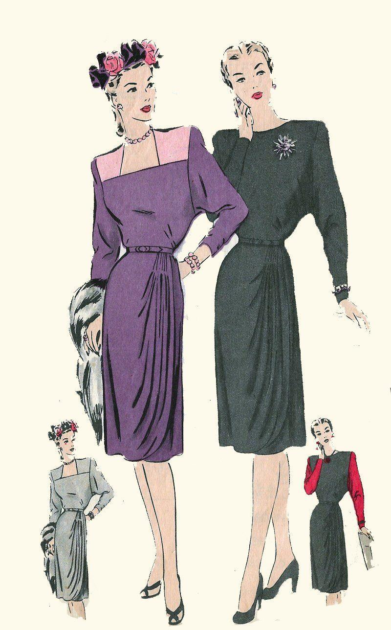 Vintage 1940s Film Noir Cocktail Dress Draped And Pleated Etsy In 2021 Film Noir Dress Making Patterns Bateau Neckline [ 1288 x 800 Pixel ]