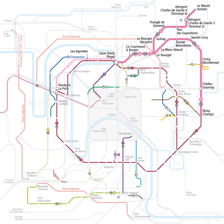 Tracé du métro lignes 16 et 17. Paris Metro Routes 15, 16, 17, 18 ...