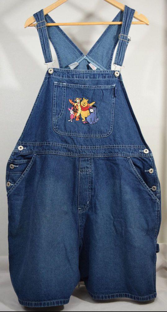 e0d6be0c88a Disney Plus Winnie The Pooh Piglet Embroidered Denim Shortall Overalls 2X  20W  Disney  Shortalls  WinniethePooh  Piglet  Eeyore  Tigger
