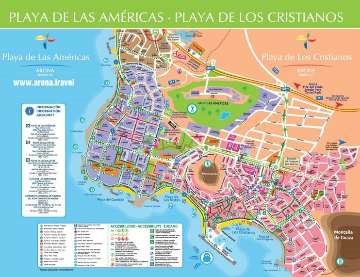 Los Cristianos and Playa de las Amricas sightseeing map Maps