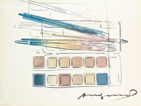 watercolor paint kit with brushes by andy warhol artistes