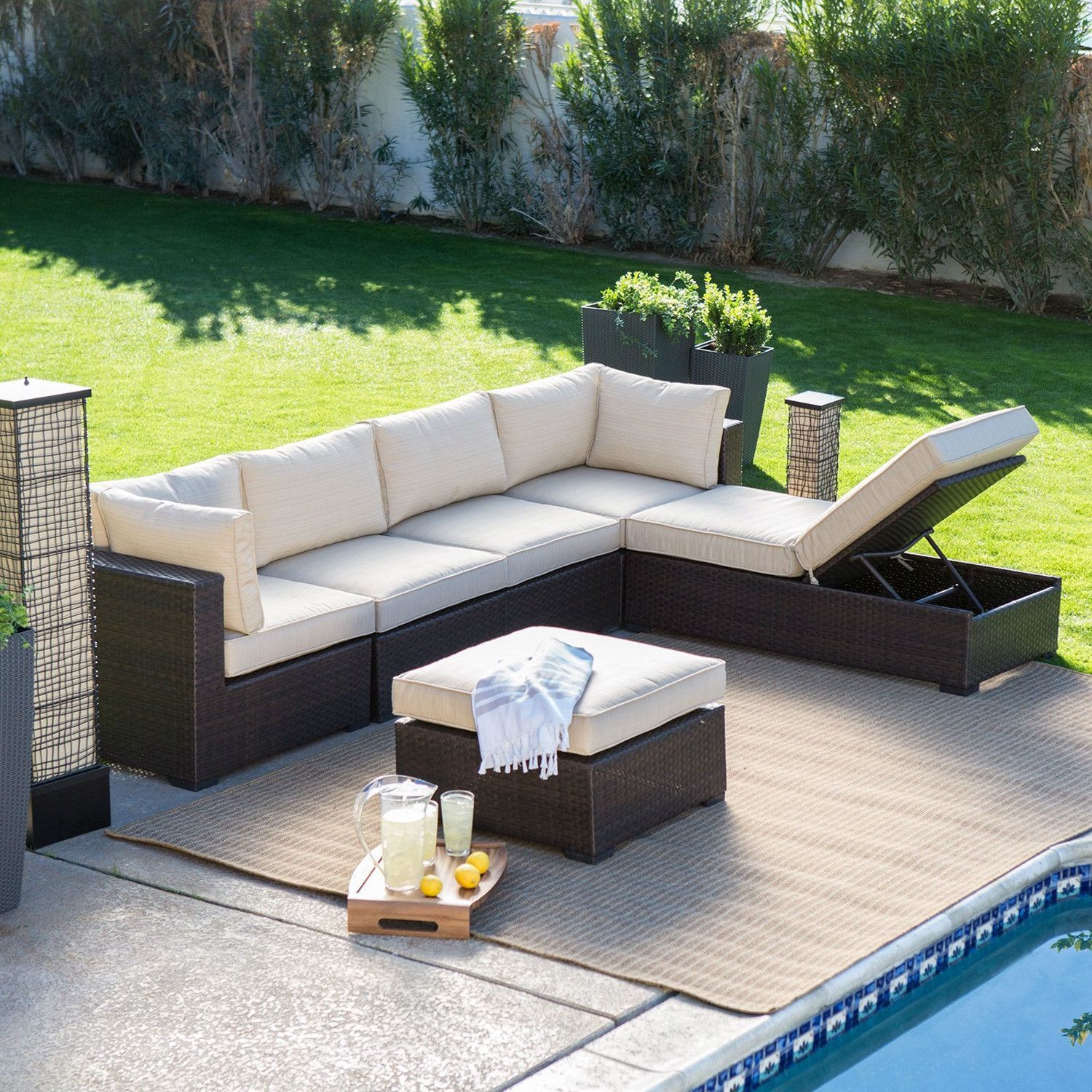 Outdoor Wicker Resin 6-Piece Sectional Sofa Patio Furniture Conversation  Set with Tan Stripe Cushions - Outdoor Wicker Resin 6-Piece Sectional Sofa Patio Furniture