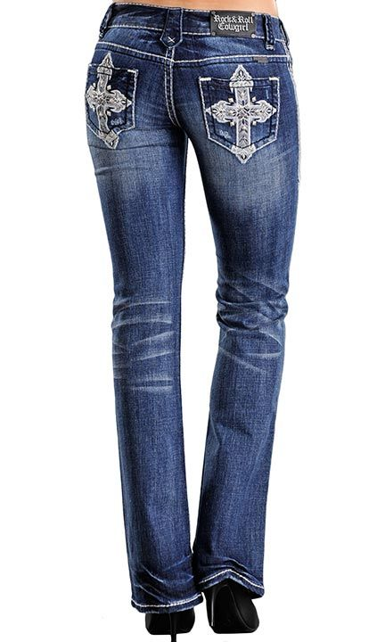 40185419440e Rock & Roll Cowgirl Women's Low Rise Boot Cut Jeans with Cross ...