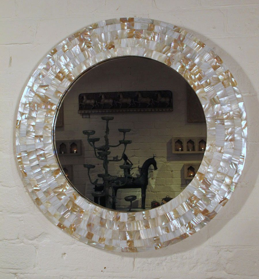 Mother Of Pearl Inlaid Round Mirror