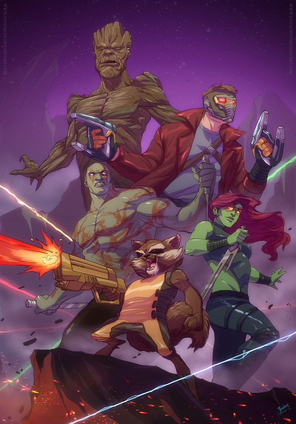 Star Lord And Rocket Raccoon By Timothygreenii On Deviantart: Guardians Of The Galaxy By Yinfaowei.deviantart.com On