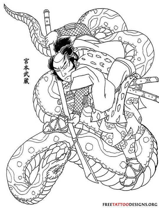 Samurai Vs Snake Japanese Tattoo Samurai Tattoo Japanese Snake Tattoo