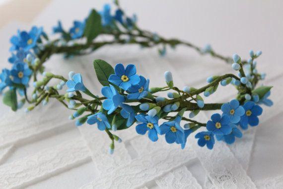 Blue forget-me-not hair wreath. Wedding flower bridal hair accessory. Headpiece flower for hair #bridalhairflowers