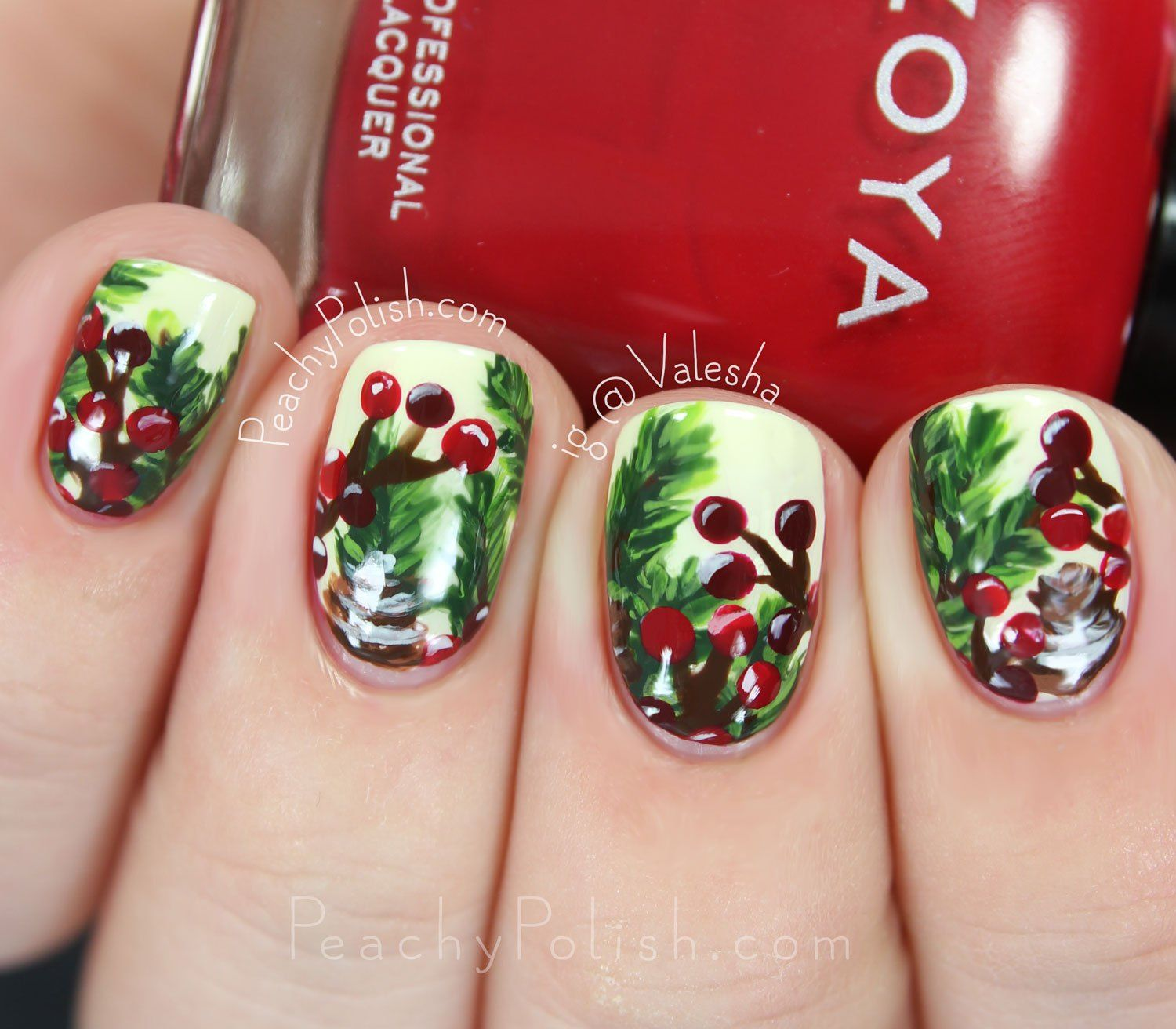 Christmas Nail Art Ivory Green Red Holly Evergreen Hang out with us ...