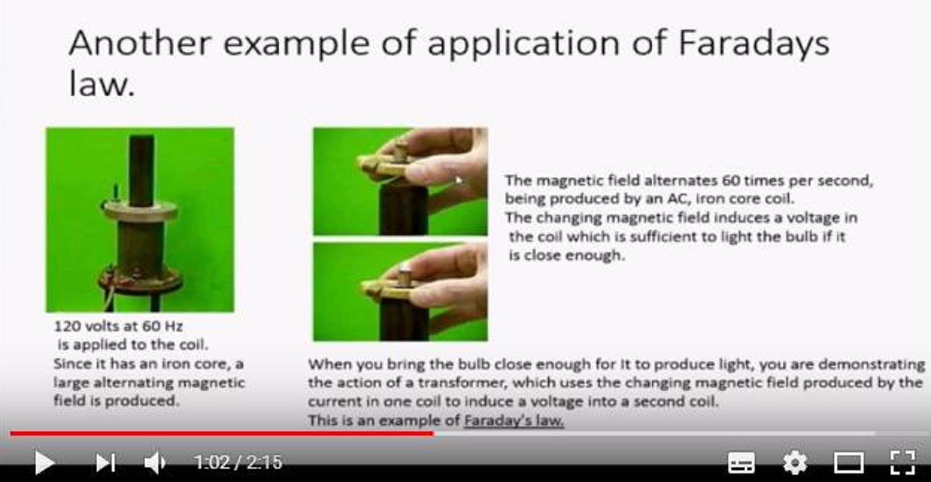 Real Application of the Faraday Law in Electrical