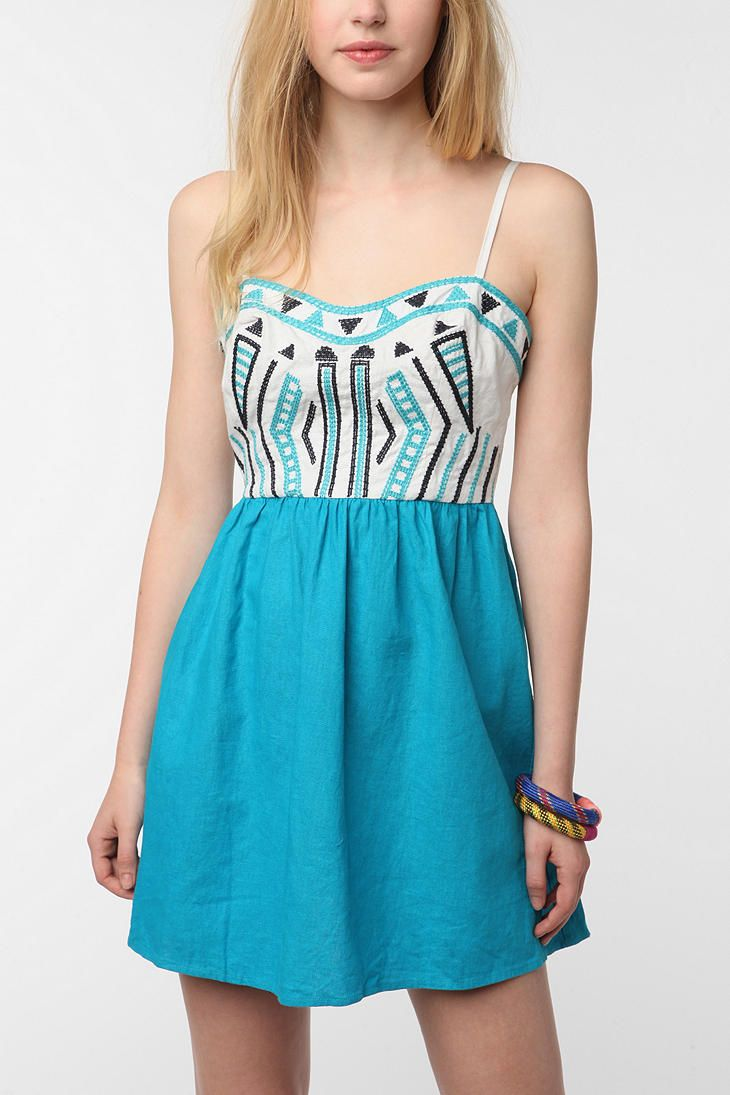 Staring at Stars Color Pop Embroidered Sundress from Urban