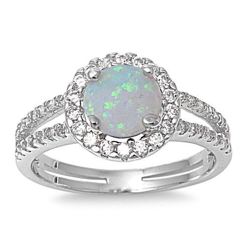 CloseoutWarehouse Embraced Round Center Blue Simulated Opal Cubic Zirconia Ring Sterling Silver 925