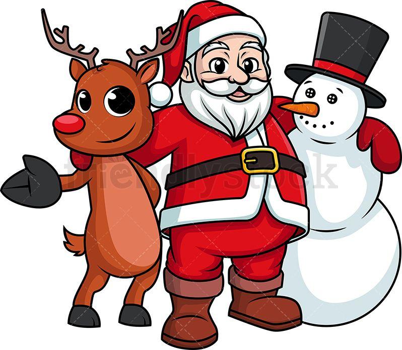 Santa Claus Hugging Snowman And Reindeer Cartoon Clipart Vector Friendlystock Santa Cartoon Cartoon Clip Art Holiday Cartoon