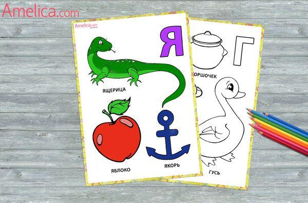 азбука раскраска в картинках распечатать | Азбука, Раскраски