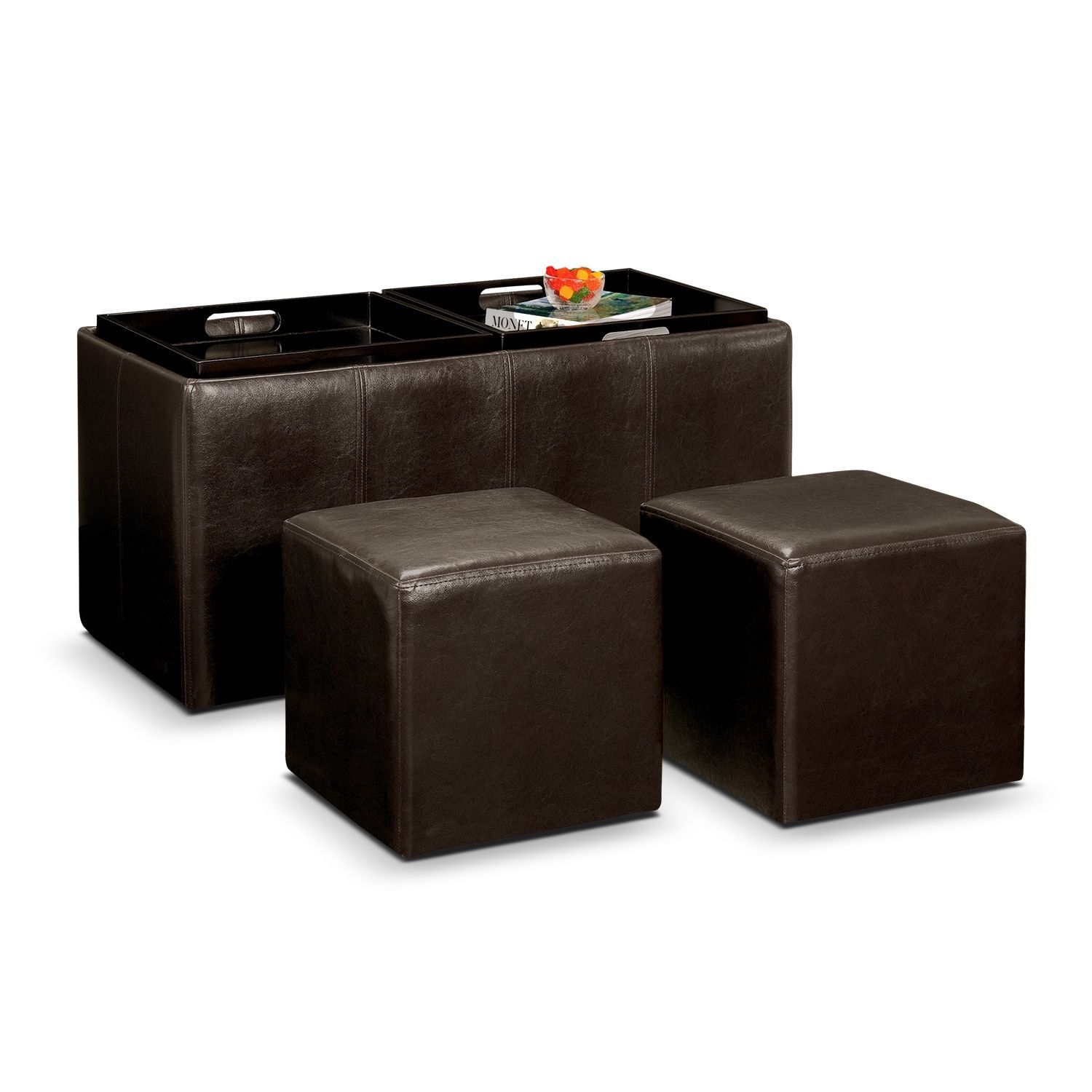 Accent and occasional furniture tiffany 3 pc storage ottoman with trays occasionalseatinglivingroom