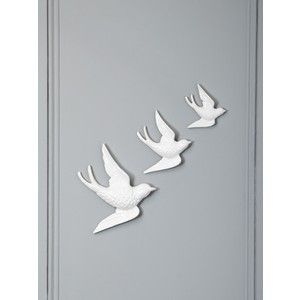 linea white ceramic bird wall art - Bird Wall Decor