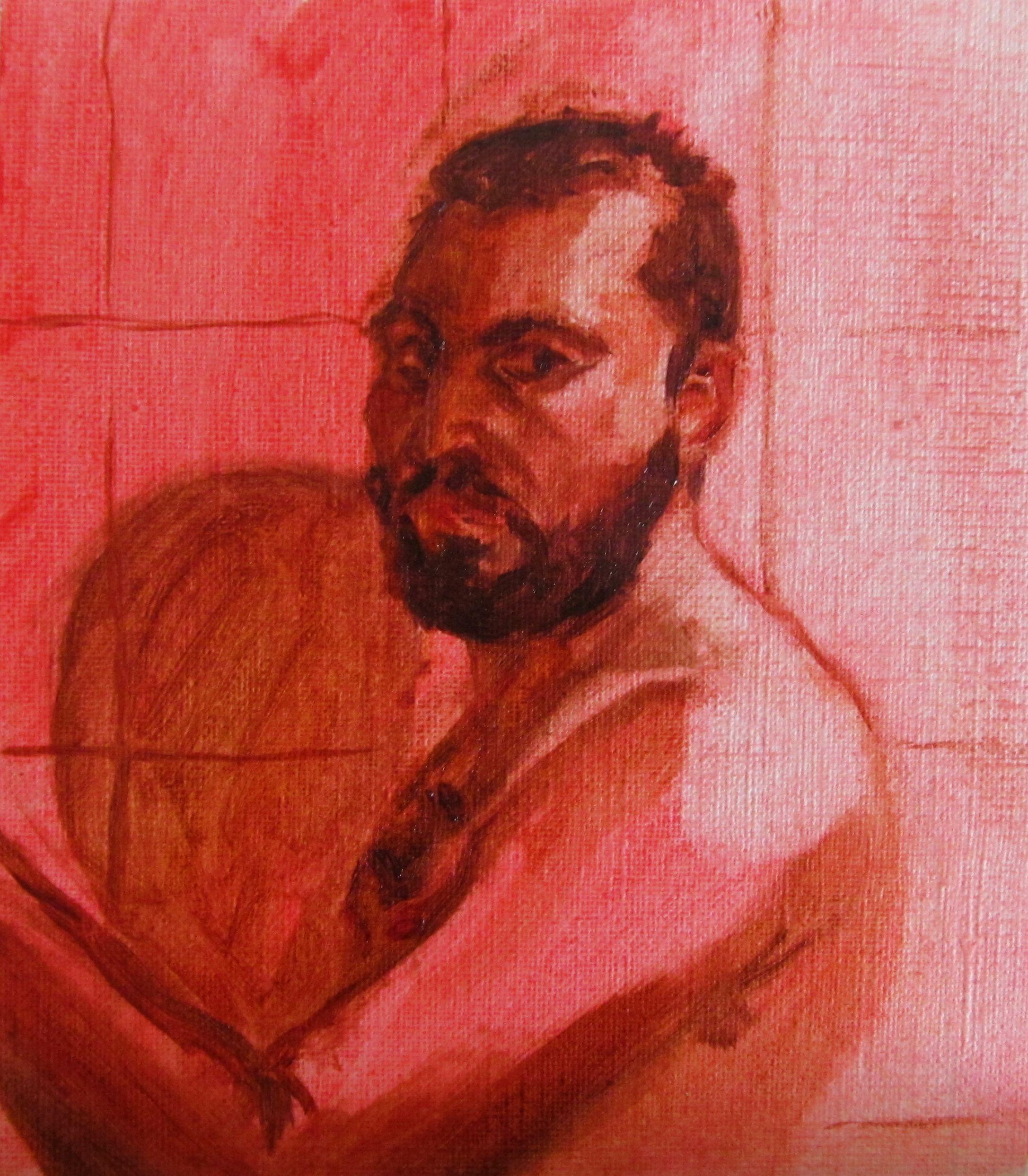 Filipe Silva, auto retrato, óleo sobre papel, 2016.