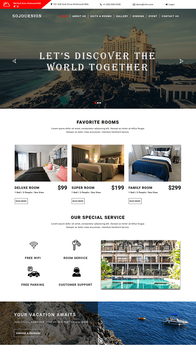 Website Templates Free Free Web Template For Hotel & Resort Website#webtemplate