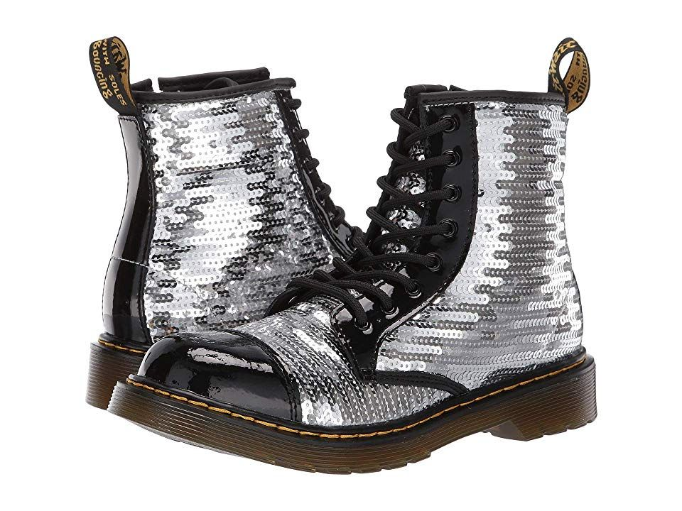 Dr Martens Kid S Collection 1460 Pooch Sequins Boot Big Kid Girls Shoes Black Silver Sequin Patent Lamper Sequin Boots Girls Shoes Kids