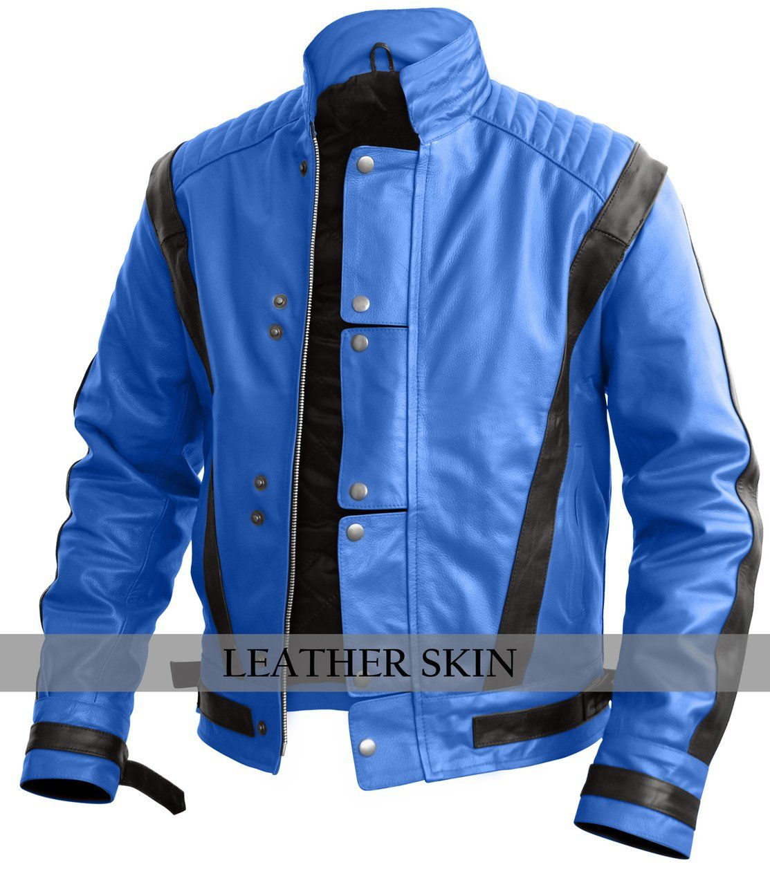 Leather Skin Men Blue Thriller Genuine Leather Jacket with