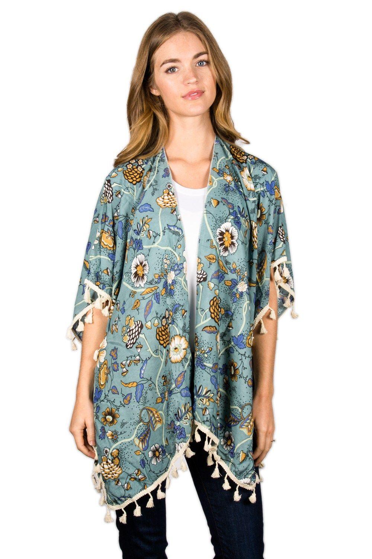Lulla vintage floral printed tassel kimono my style iii
