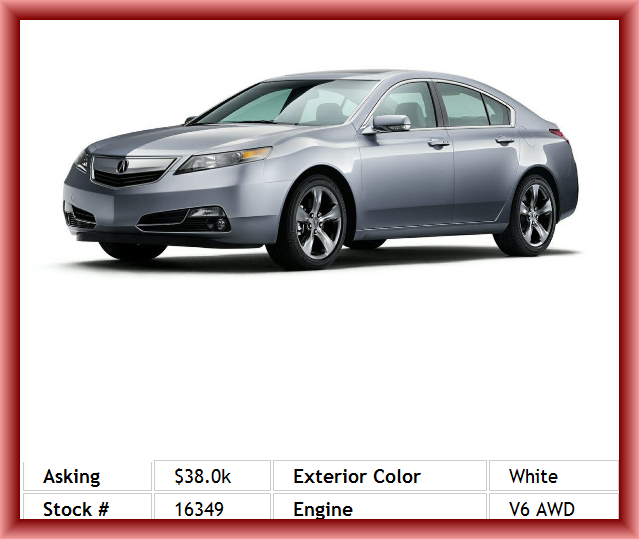 2013 Acura TL SH-AWD W/Tech Sedan Adjustable Headrests