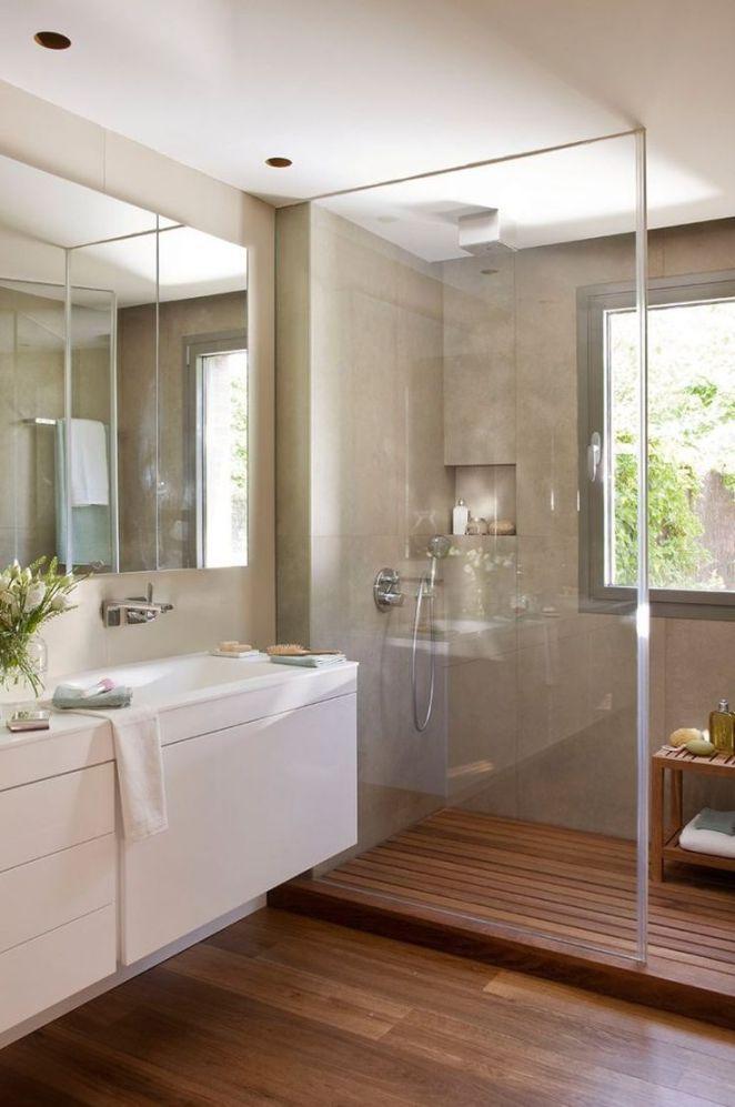 Idée décoration Salle de bain parois-douche-verre-sol-bois-stratifié - Stratifie Mural Salle De Bain
