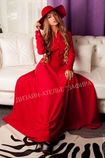 f5e6f745bec Платья ручной работы. Ярмарка Мастеров - ручная работа. Купить Трикотажное  платье-рубашка. Handmade. Ярко-красный