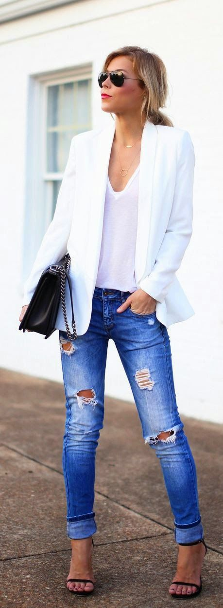 Street styles | Spring jacket nice outfit but of course I refuse to wear jeans with holes in ...