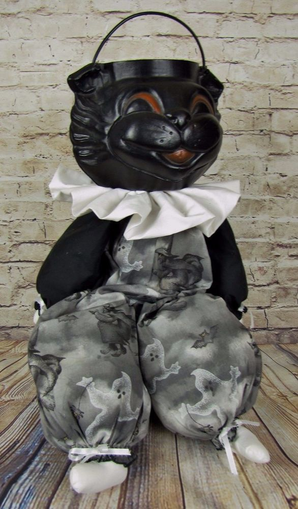 Empire Blow Mold Black Cat Doll Vintage Halloween Decorations Ghost Hand Made