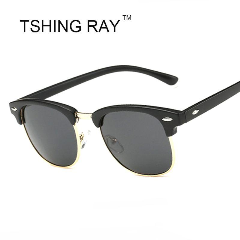 TSHING RAY Medio Marco gafas de Sol Polarizadas Hombres Mujeres ...
