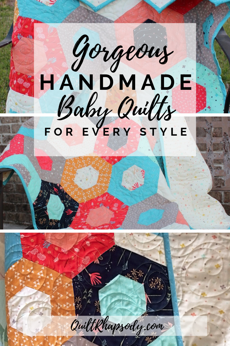 Mustard, Coral, and Teal Baby Décor Nursery Quilt images