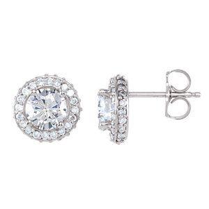 14kt White 1 1/2 CTW Diamond Earrings