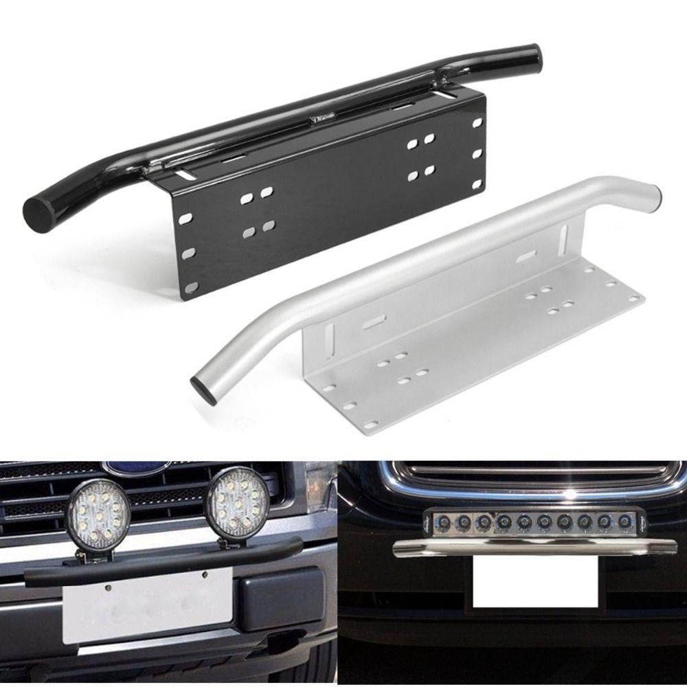 Car Off-Road Black Bumper License Plate Mount Bracket Holder For Working Lights