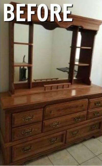 Dresser turned media console fireplace hometalk design - Refurbished living room furniture ...