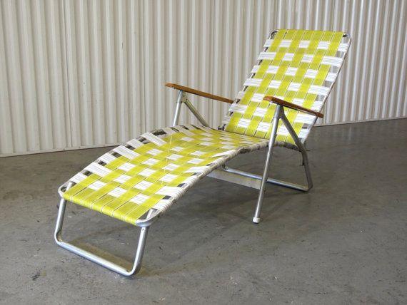 1960s Webbed Lawn Chair Folding Beach Chair Lounge