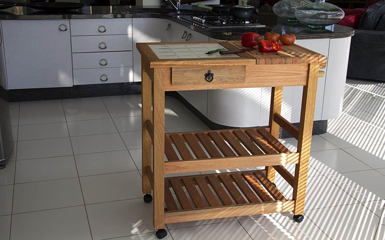 Idea Store Compre Carro Auxiliar Gourmet Em Madeira Grande Com
