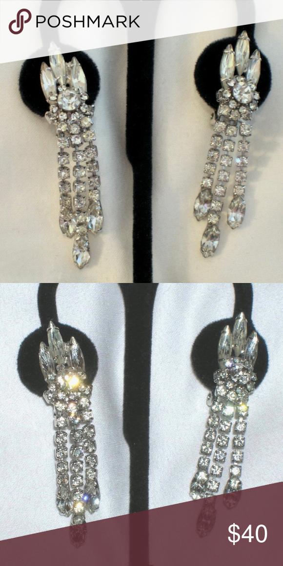 Huge Vintage 3 Rhinestone Dangle Earrings Clip On Fringe That