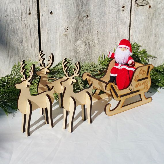 Santa S Sleigh Set Wooden Sleigh Wooden By Wildflowertoys Wooden Sleigh Santa Claus Doll Christmas Decorations