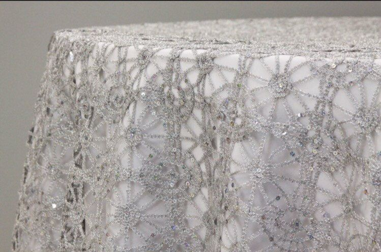 Beau Silver Or Gold And Sequence Chain Lace Table Overlay, Lace Tablecloth,  Wedding Decor, Table Runner By FantasyFabricDesigns On Etsy