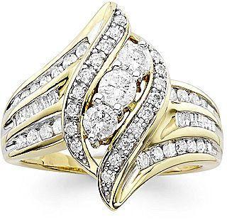 Jcpenney Fine Jewelry 1 Ct T W Diamond 10k Yellow Gold 3 Stone Crossover Ring Jcpenney Fine Jewelry Jcpenney Jewelry Wedding Rings