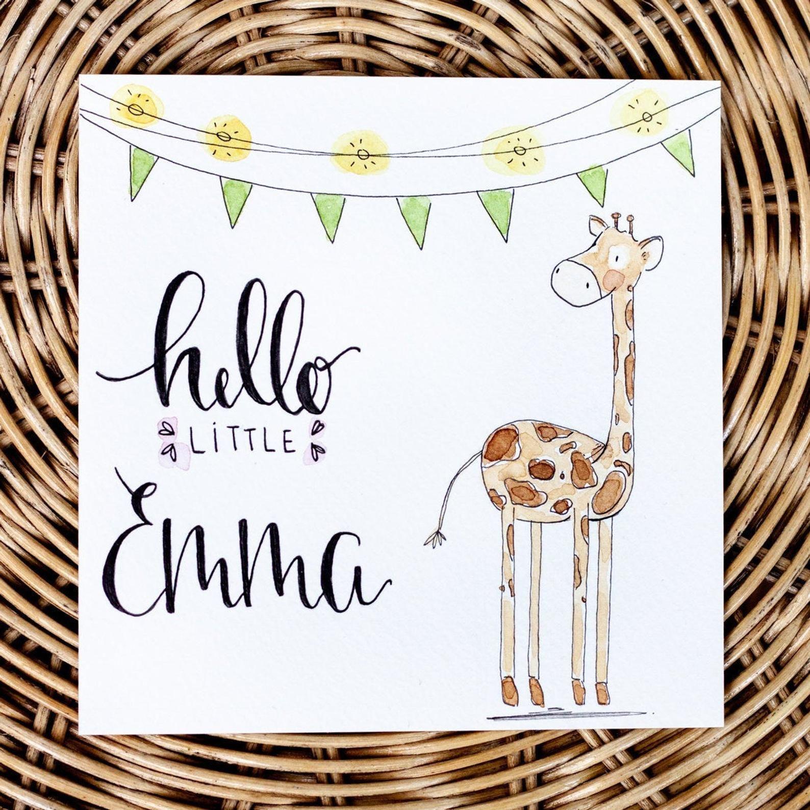 Photo of Tarjeta de bebé // ORIGINAL // tarjeta de nacimiento, felicitaciones, nacimiento, recién nacido, regalo, niña, niño, pintado a mano, individual, original