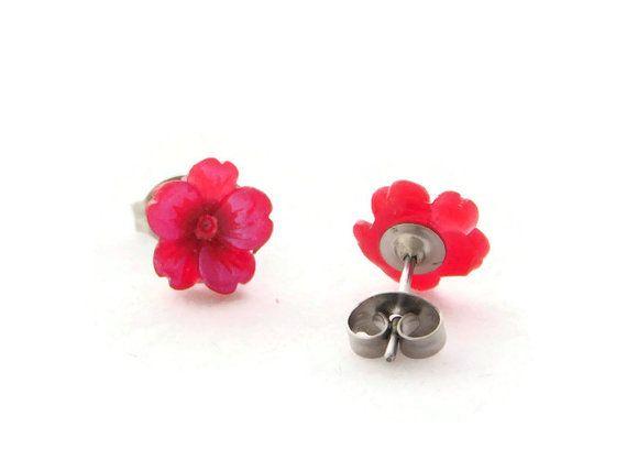 Teeny Tiny Sakura Flower Stud Earrings  by GabrielleandCo