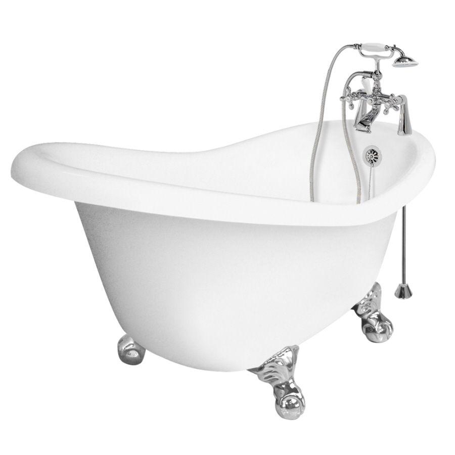 American bath factory ascot acrylic round clawfoot bathtub with