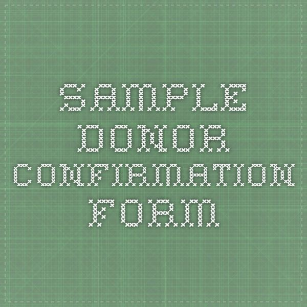 Sample -- Donor Confirmation Form