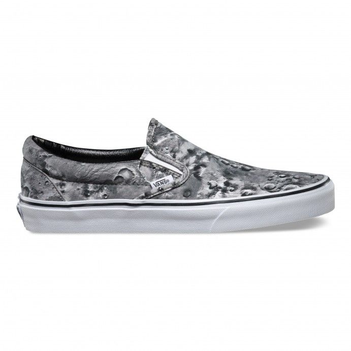 2e7e10e8cb236c The Moon Classic Slip-On features a low profile slip-on canvas upper with  an allover print of the moon