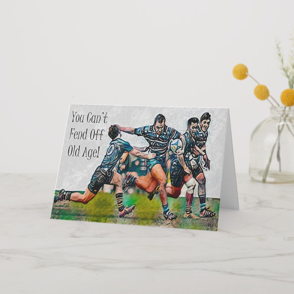 Personalized Rugby Birthday Card Zazzle Com In 2020 Birthday Cards Funny Birthday Cards Cards