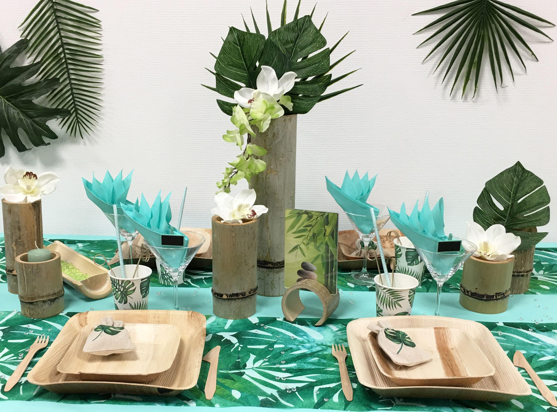 Deco De Table Bambou Tropical Deco Table Deco Table Anniversaire