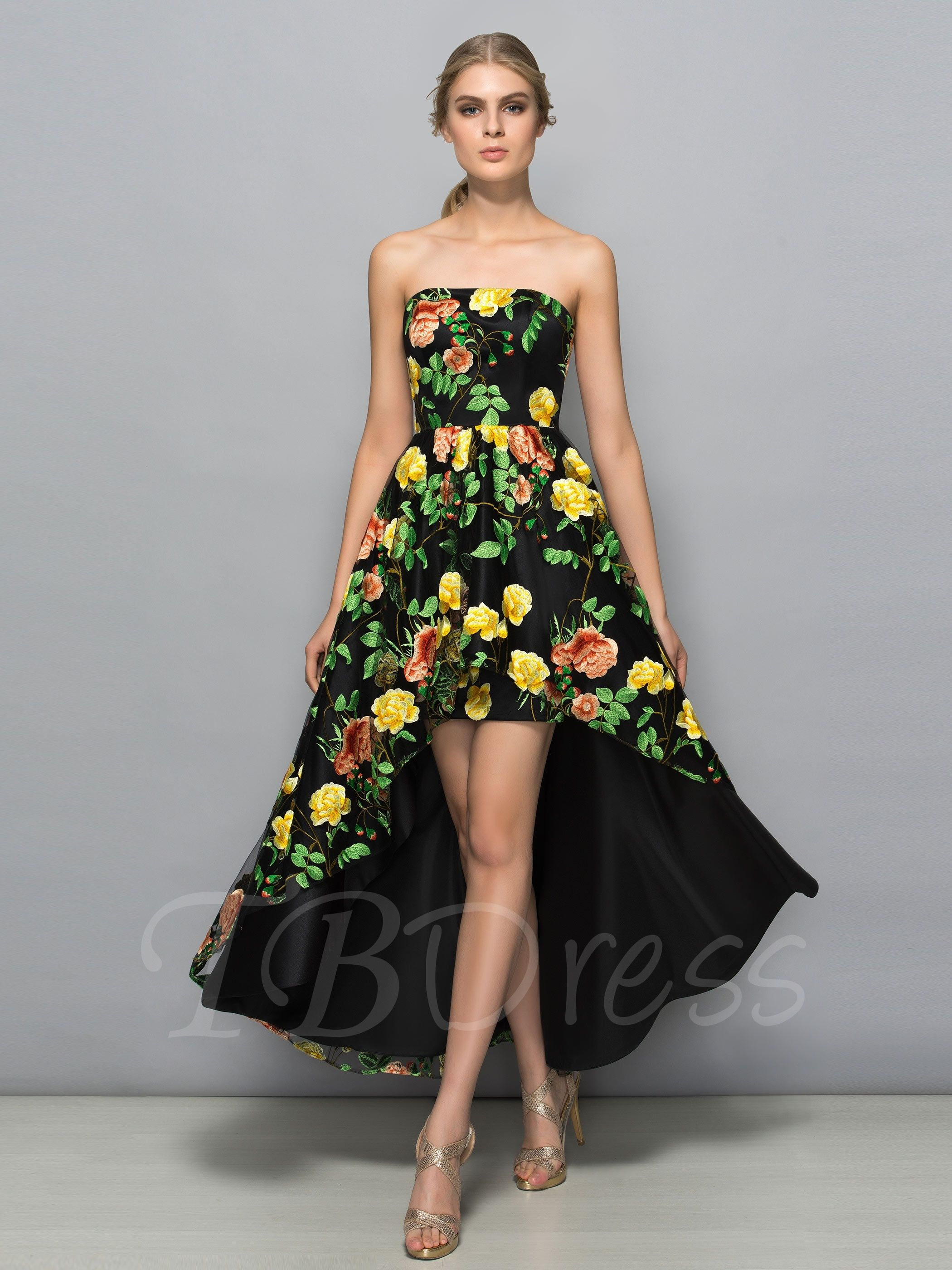 Strapless A Line Hollow Printed Asymmetry Cocktail Dress Printed Prom Dresses Strapless Cocktail Dresses Trendy Cocktail Dresses [ 2800 x 2100 Pixel ]